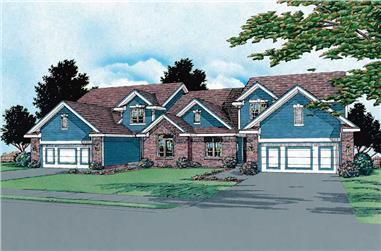 4-Bedroom, 1929 Sq Ft Multi-Unit House Plan - 120-1581 - Front Exterior