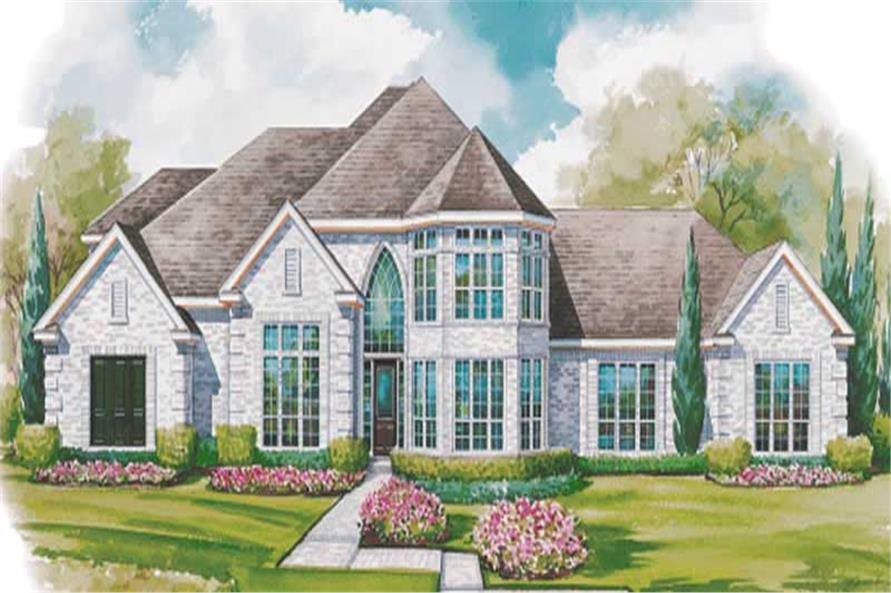 4-Bedroom, 3323 Sq Ft European House Plan - 120-1585 - Front Exterior