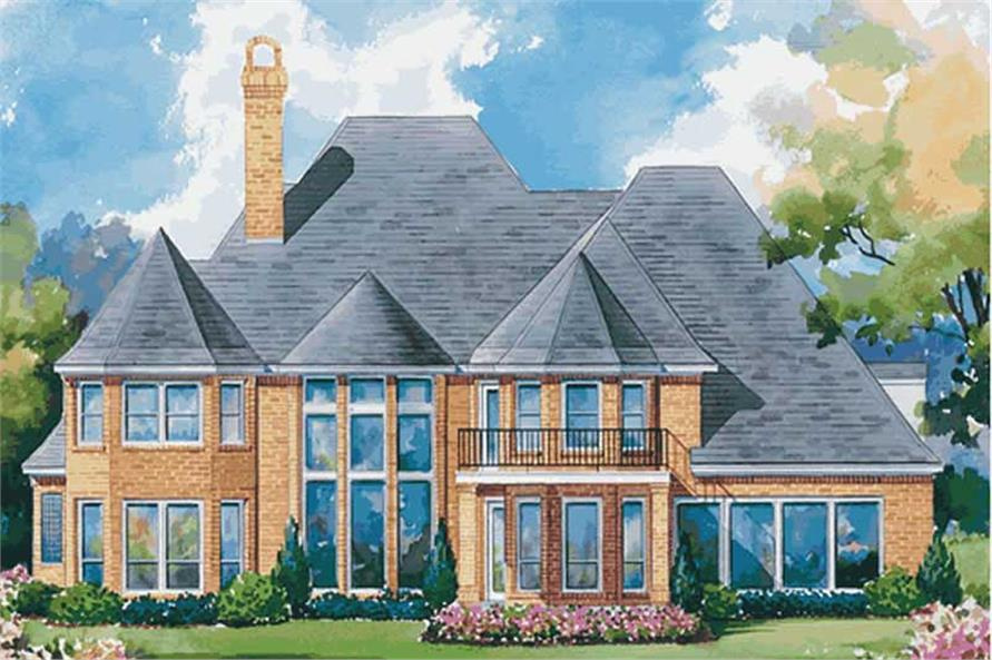 Home Plan Rear Elevation of this 4-Bedroom,4193 Sq Ft Plan -120-1590