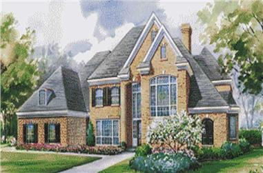 4-Bedroom, 4193 Sq Ft European House Plan - 120-1590 - Front Exterior