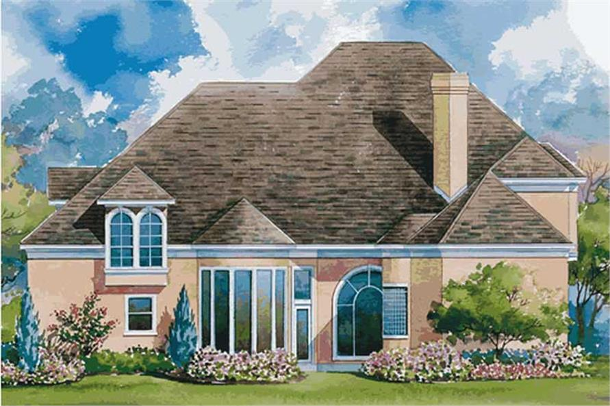 Home Plan Rear Elevation of this 4-Bedroom,3774 Sq Ft Plan -120-1593