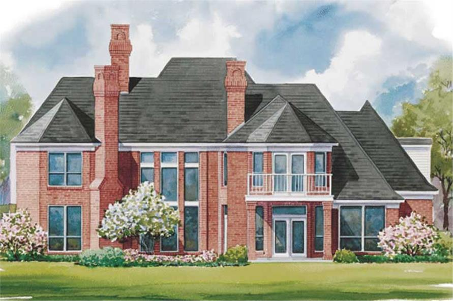 Home Plan Rear Elevation of this 4-Bedroom,4087 Sq Ft Plan -120-1594