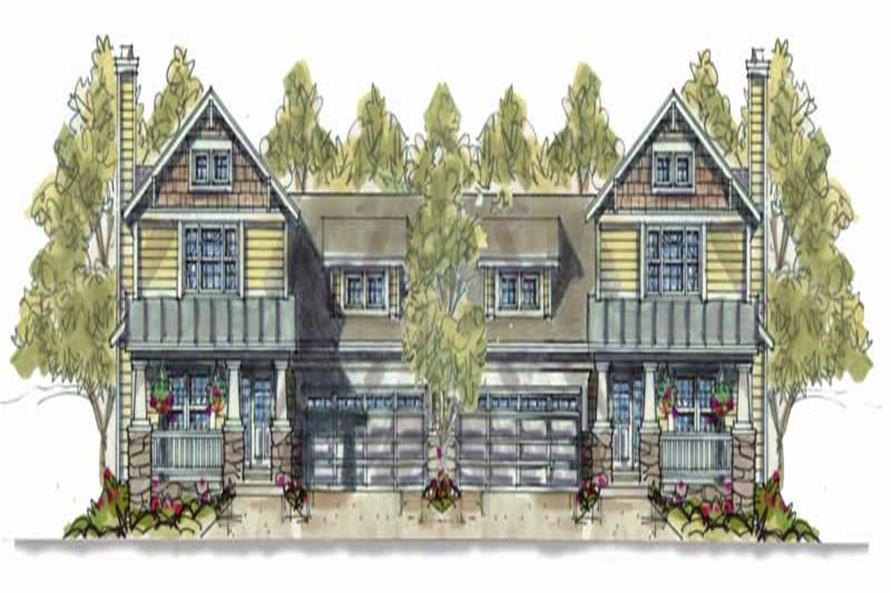 3-Bedroom, 1649 Sq Ft Multi-Unit House Plan - 120-1595 - Front Exterior