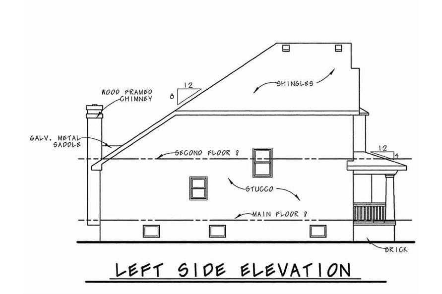 Home Plan Left Elevation of this 6-Bedroom,3398 Sq Ft Plan -120-1599