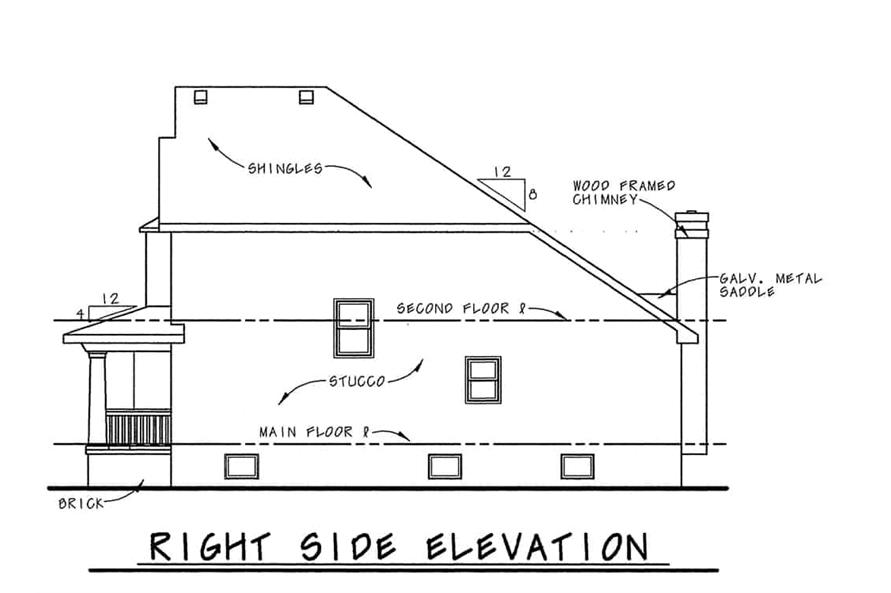 Home Plan Right Elevation of this 6-Bedroom,3398 Sq Ft Plan -120-1599