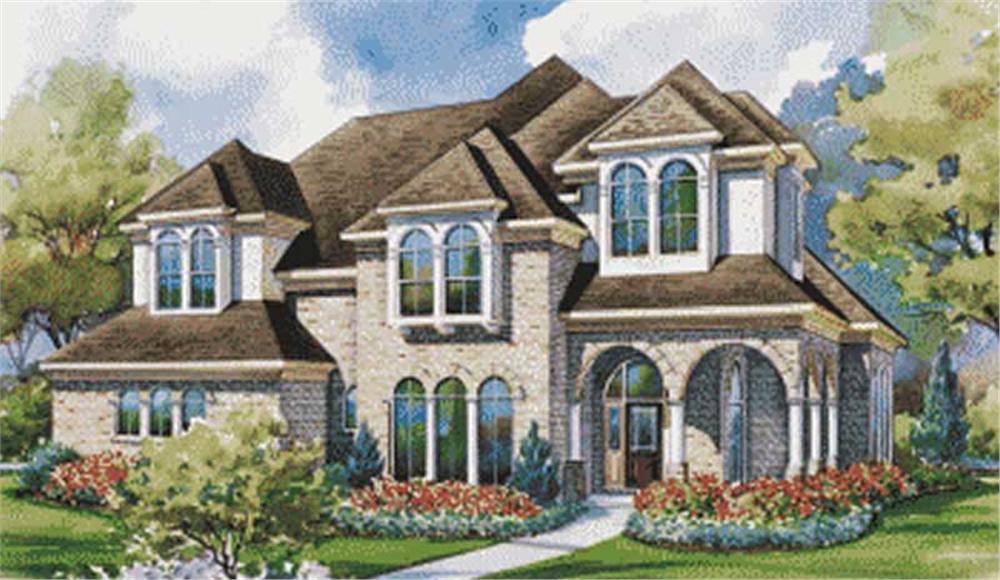 Homeplans color front elevation.