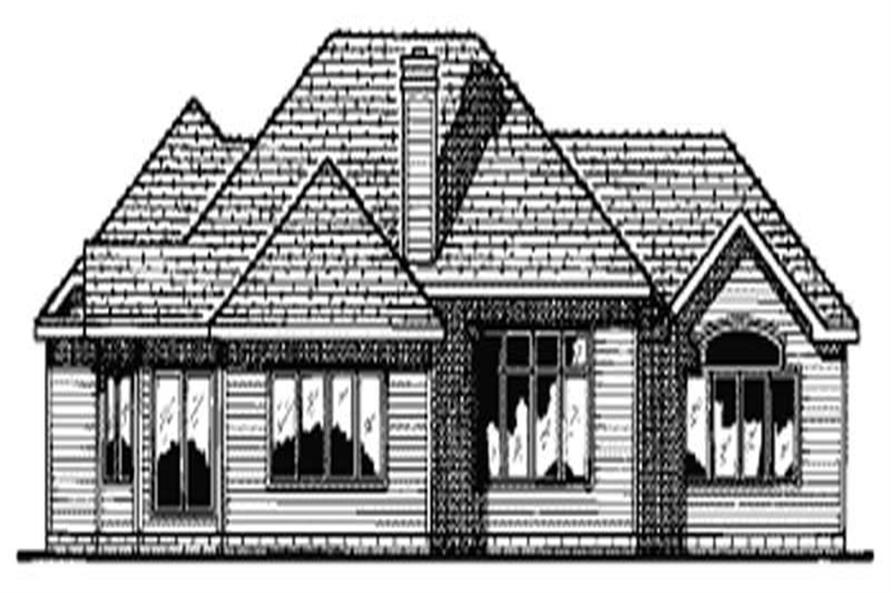 Home Plan Rear Elevation of this 3-Bedroom,2083 Sq Ft Plan -120-1607