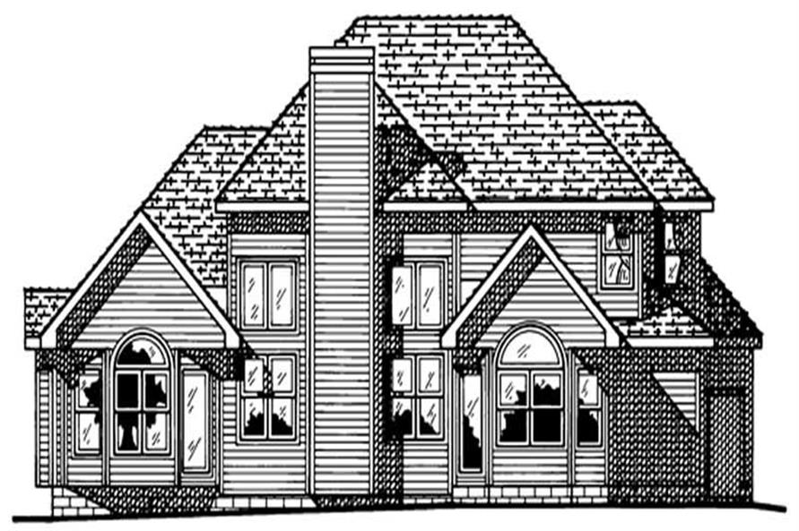 Home Plan Rear Elevation of this 4-Bedroom,2496 Sq Ft Plan -120-1608