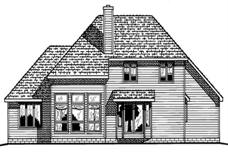 Home Plan Rear Elevation of this 4-Bedroom,2282 Sq Ft Plan -120-1609