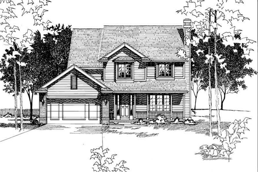4-Bedroom, 2099 Sq Ft Country House Plan - 120-1612 - Front Exterior