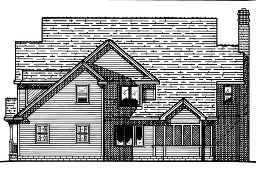 Home Plan Rear Elevation of this 4-Bedroom,3273 Sq Ft Plan -120-1614