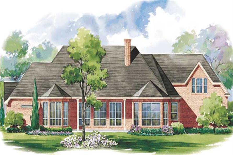 Home Plan Rear Elevation of this 4-Bedroom,3858 Sq Ft Plan -120-1621