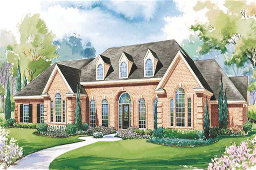 4-Bedroom, 3858 Sq Ft European House Plan - 120-1621 - Front Exterior
