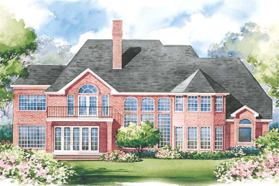 Home Plan Rear Elevation of this 4-Bedroom,3863 Sq Ft Plan -120-1622