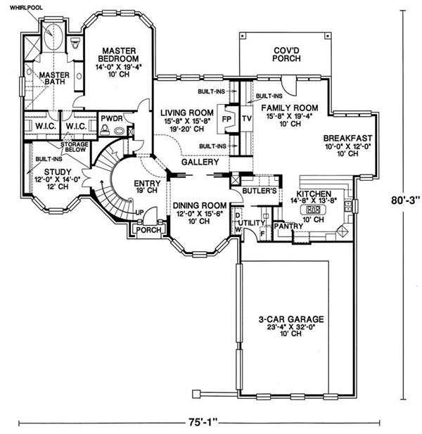 120-1622 house plan first floor