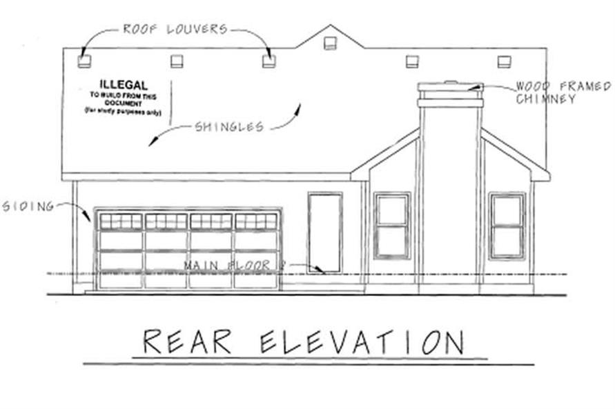 Home Plan Rear Elevation of this 2-Bedroom,1580 Sq Ft Plan -120-1629