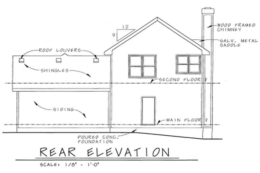 Home Plan Rear Elevation of this 3-Bedroom,1649 Sq Ft Plan -120-1632