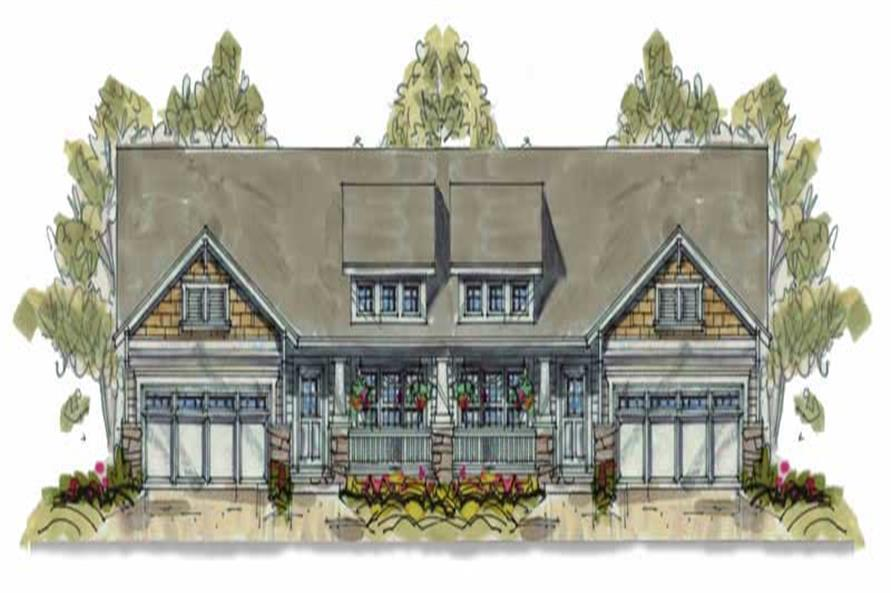 3-Bedroom, 1195 Sq Ft Multi-Unit House Plan - 120-1633 - Front Exterior