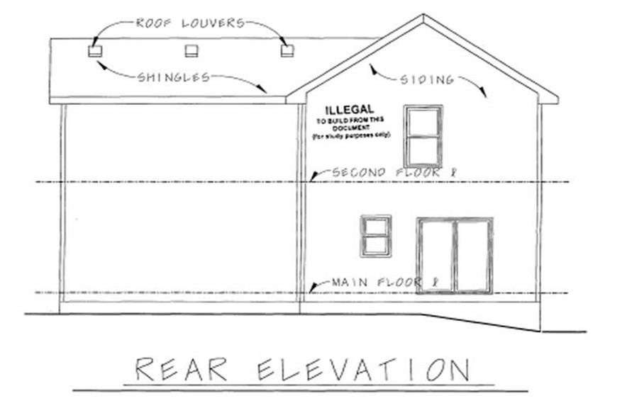 Home Plan Rear Elevation of this 3-Bedroom,1568 Sq Ft Plan -120-1639
