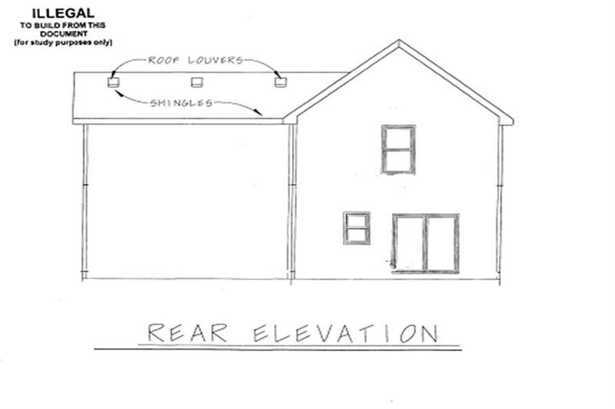 Home Plan Rear Elevation of this 3-Bedroom,1575 Sq Ft Plan -120-1640