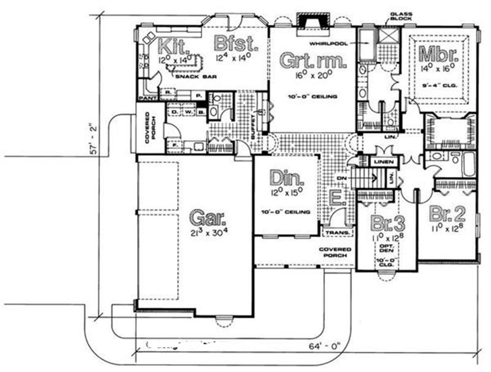 120-1644 house plan first floor
