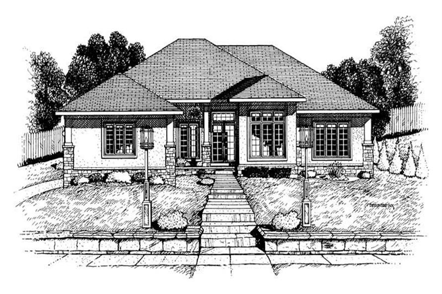 3-Bedroom, 1931 Sq Ft Ranch House Plan - 120-1645 - Front Exterior