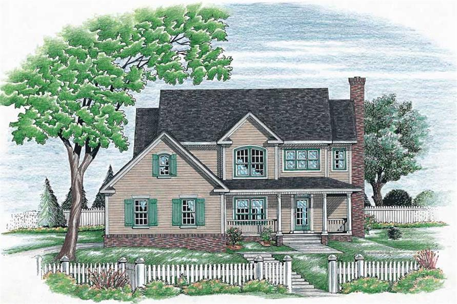 4-Bedroom, 2105 Sq Ft Country House Plan - 120-1659 - Front Exterior