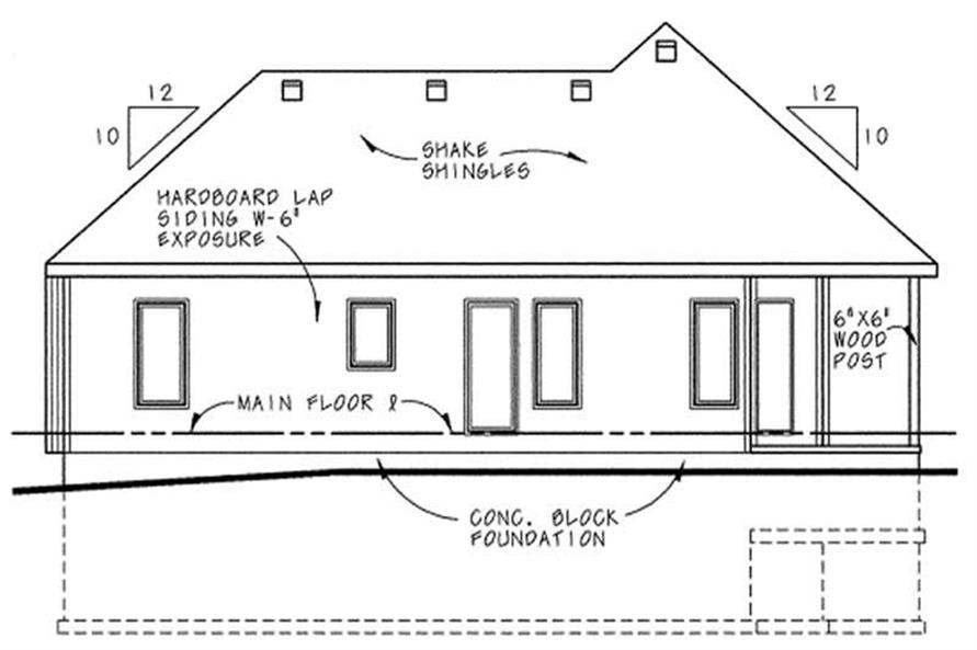 Home Plan Rear Elevation of this 3-Bedroom,1191 Sq Ft Plan -120-1662