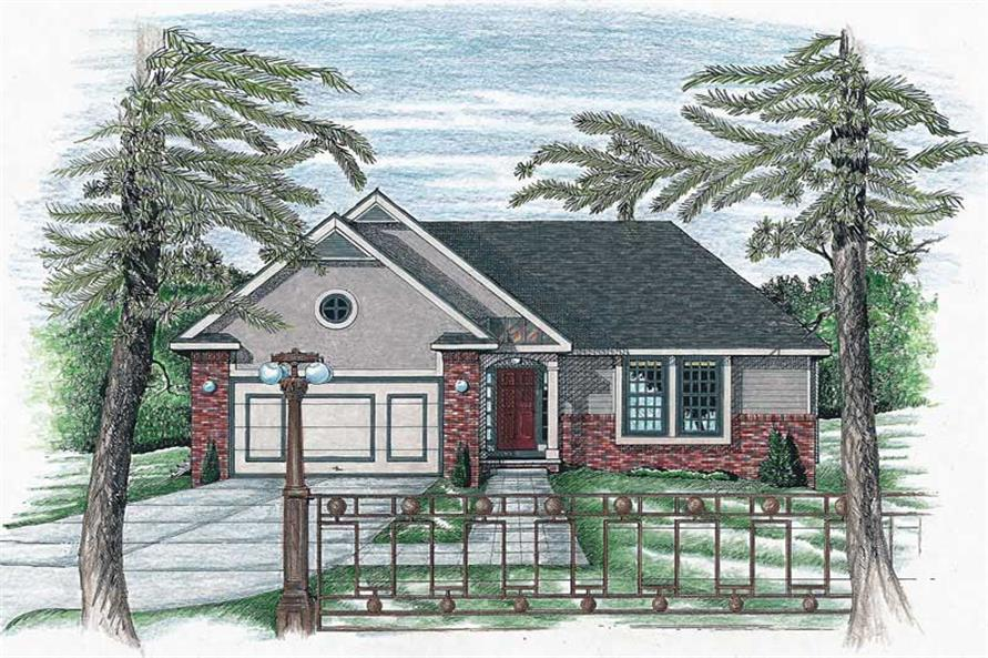 3-Bedroom, 1191 Sq Ft Small House Plans - 120-1662 - Front Exterior