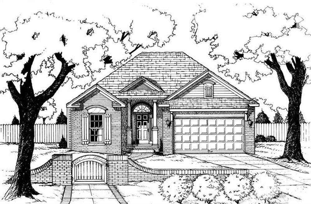 Front elevation of Ranch home (ThePlanCollection: House Plan #120-1664)