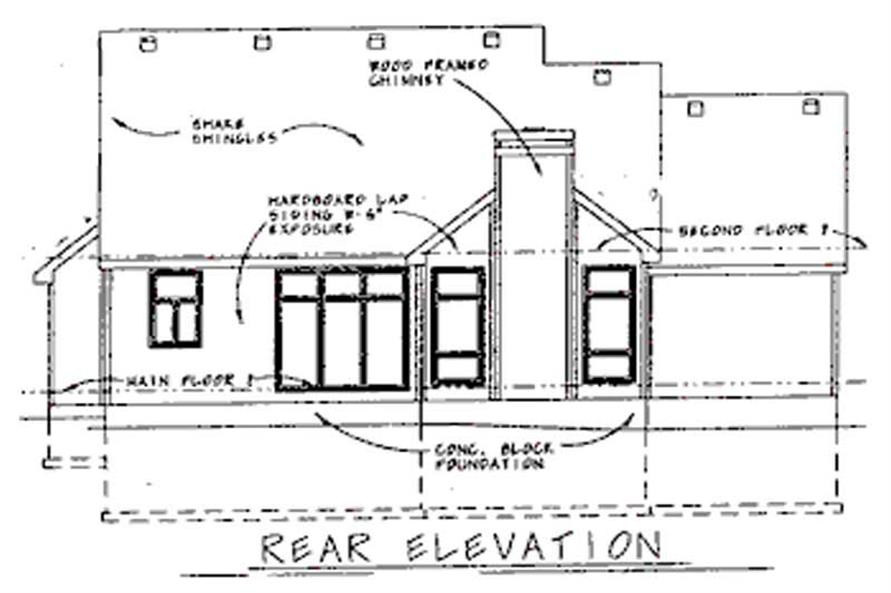 Home Plan Rear Elevation of this 3-Bedroom,1762 Sq Ft Plan -120-1665