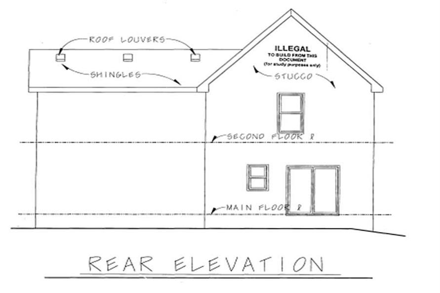 Home Plan Rear Elevation of this 3-Bedroom,1560 Sq Ft Plan -120-1669