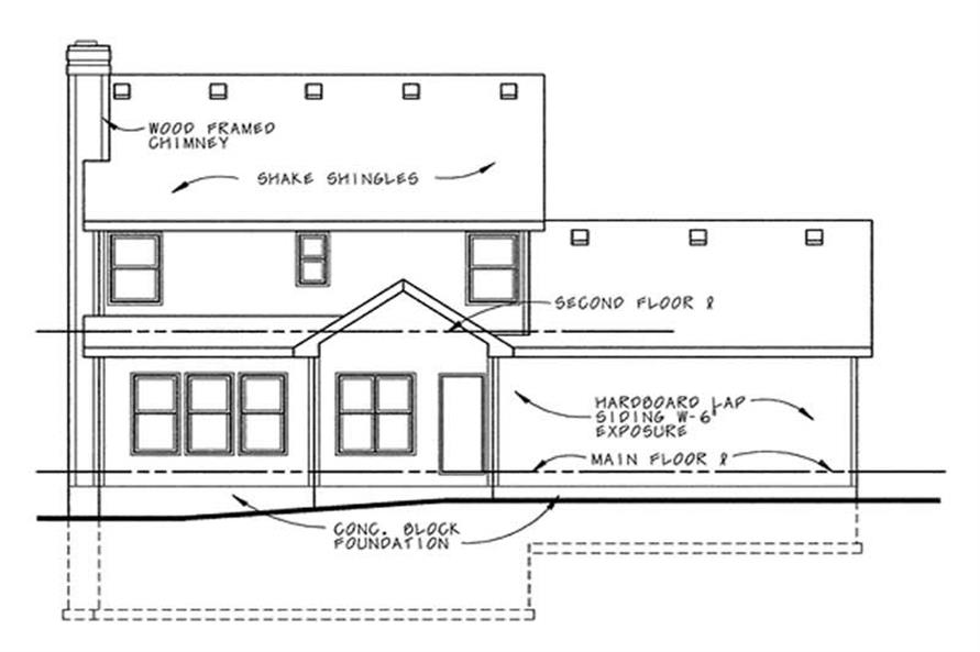 Home Plan Rear Elevation of this 3-Bedroom,1628 Sq Ft Plan -120-1671