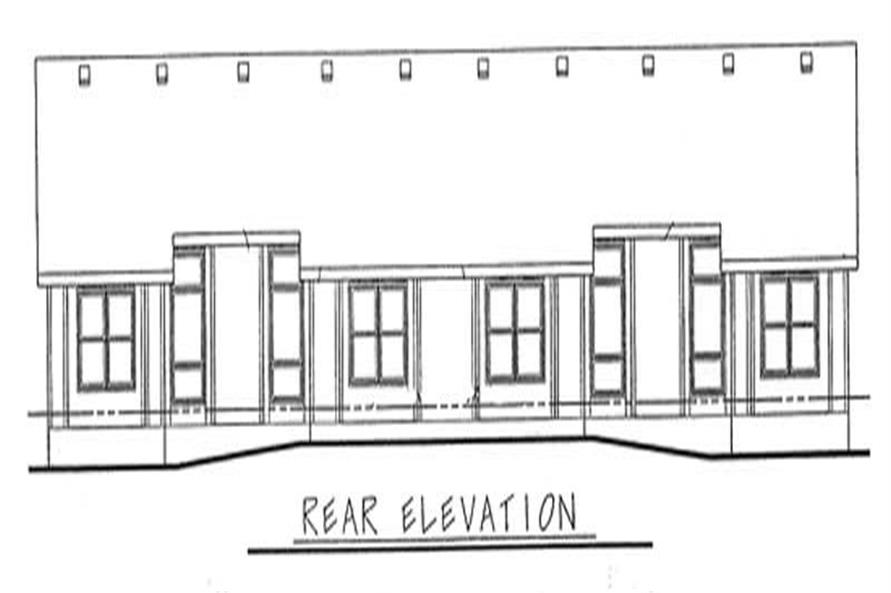 Home Plan Rear Elevation of this 2-Bedroom,1344 Sq Ft Plan -120-1677