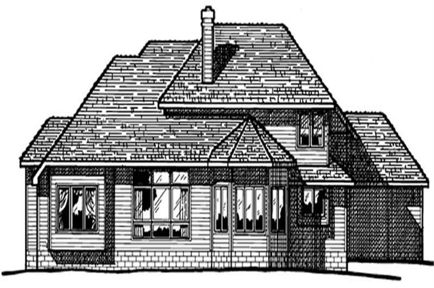 Home Plan Rear Elevation of this 4-Bedroom,2579 Sq Ft Plan -120-1685