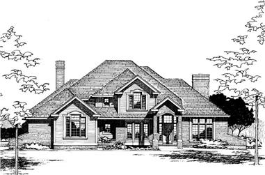 4-Bedroom, 2857 Sq Ft French Home Plan - 120-1686 - Main Exterior