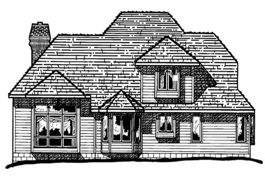 Home Plan Rear Elevation of this 4-Bedroom,2708 Sq Ft Plan -120-1688
