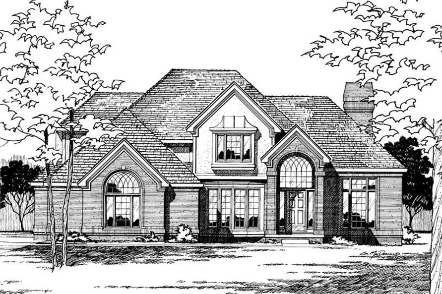 4-Bedroom, 2708 Sq Ft European House Plan - 120-1688 - Front Exterior
