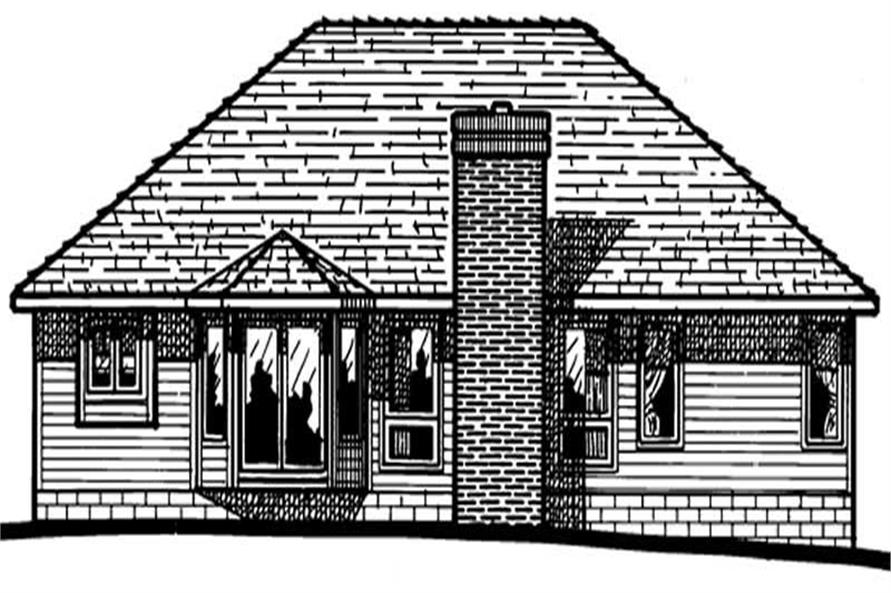 Home Plan Rear Elevation of this 3-Bedroom,1604 Sq Ft Plan -120-1692