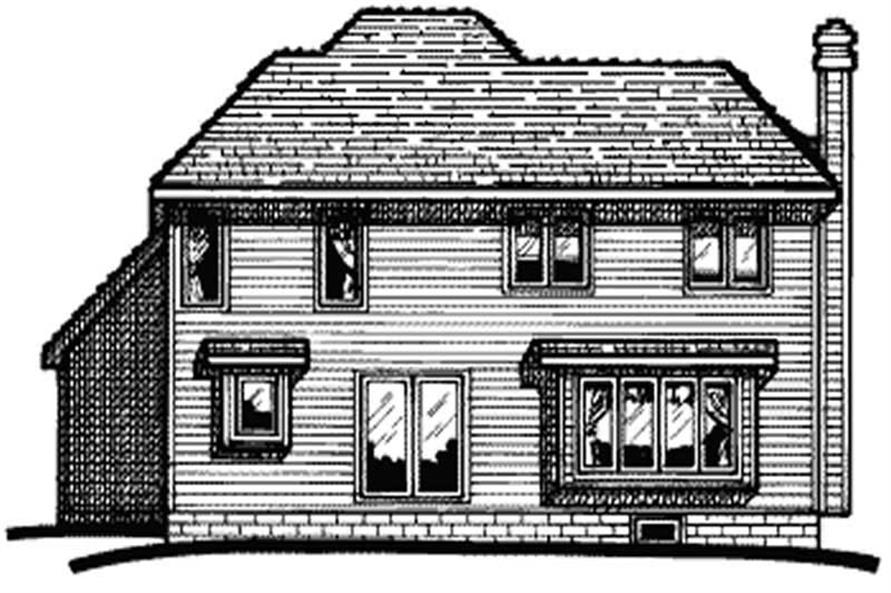 Home Plan Rear Elevation of this 4-Bedroom,1776 Sq Ft Plan -120-1702