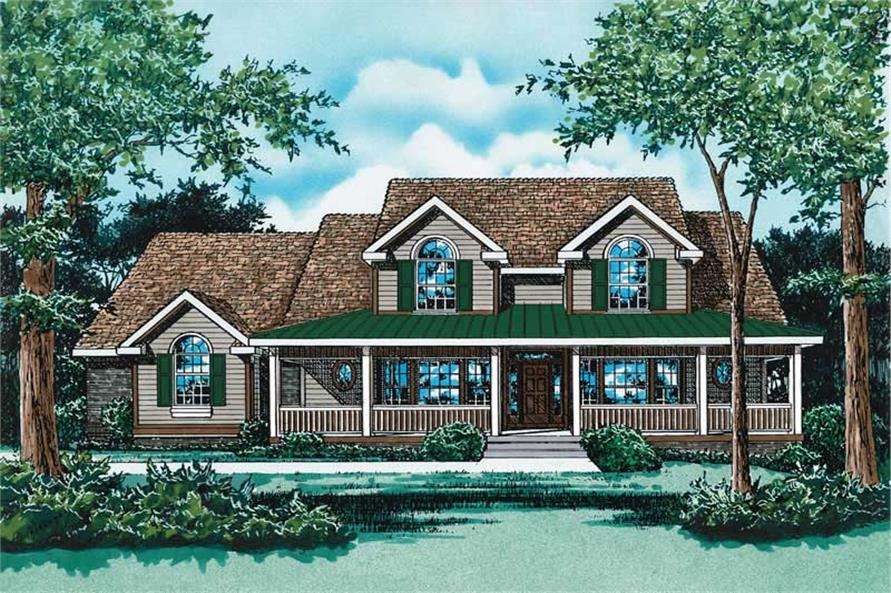 3-Bedroom, 2820 Sq Ft Country Home Plan - 120-1705 - Main Exterior