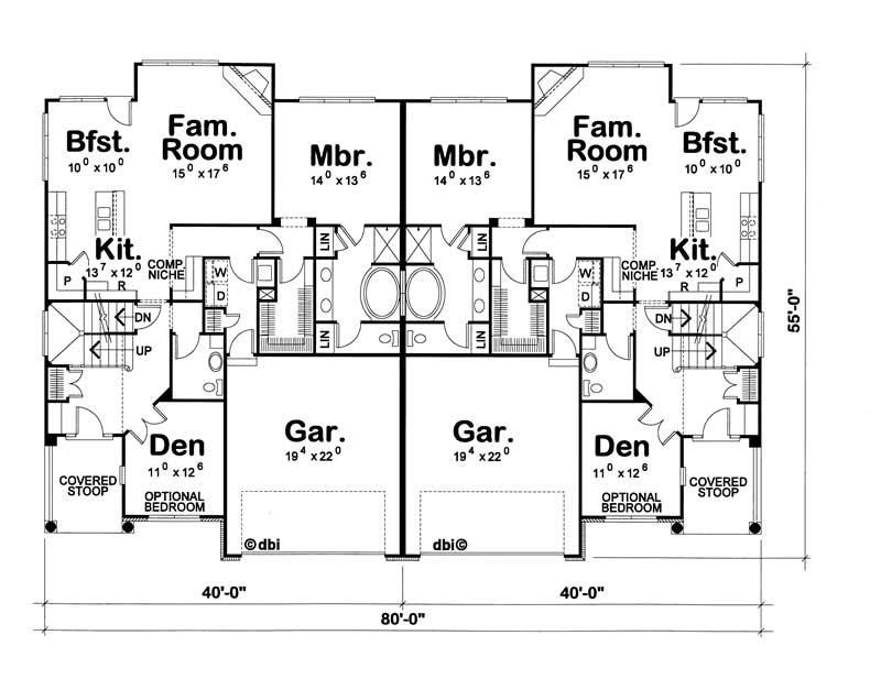 Multi family plan 120 1706 3 bedroom 2024 sq ft country multi unit tpc - Multi unit house plans family friends ...