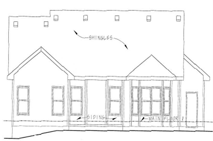 Home Plan Rear Elevation of this 3-Bedroom,1422 Sq Ft Plan -120-1707