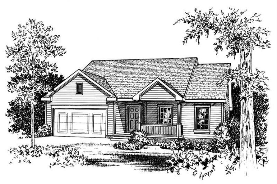 Home Plan Rendering of this 3-Bedroom,1422 Sq Ft Plan -120-1707