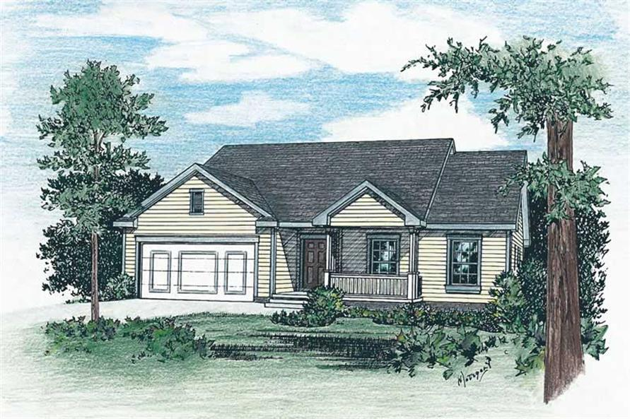 3-Bedroom, 1422 Sq Ft Small House Plans - 120-1707 - Front Exterior