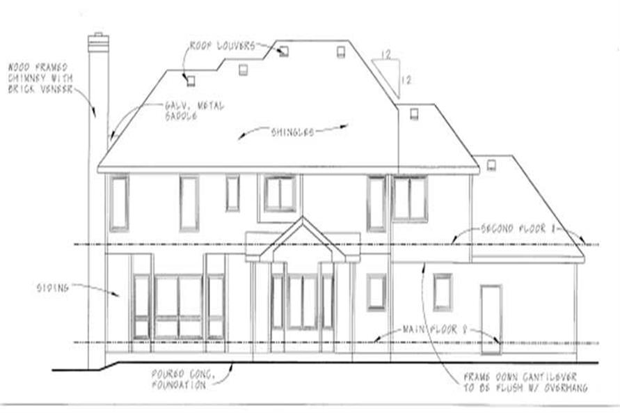 Home Plan Rear Elevation of this 4-Bedroom,2827 Sq Ft Plan -120-1717