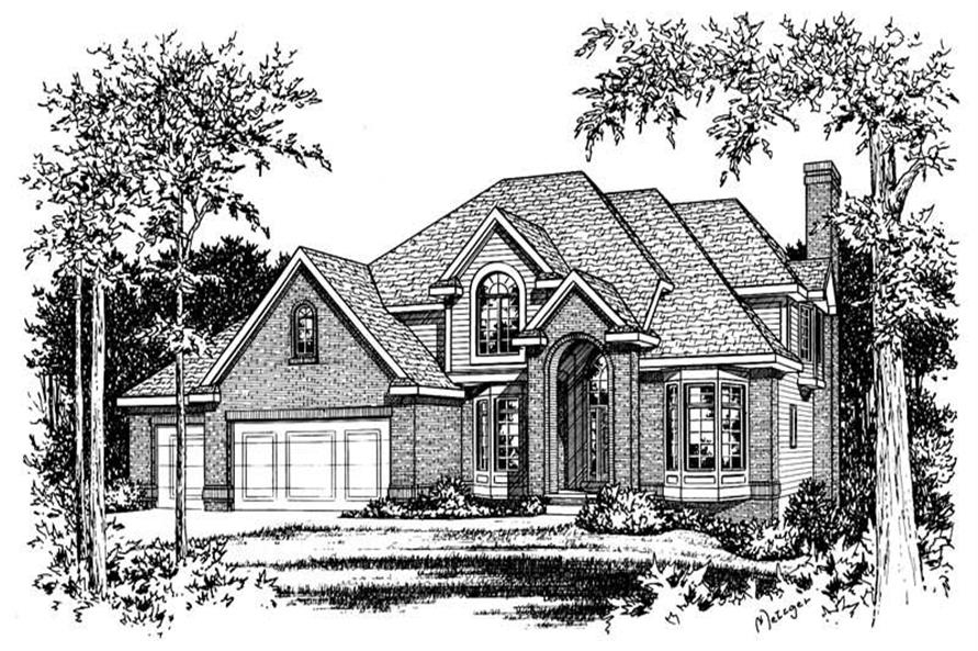 4-Bedroom, 2827 Sq Ft European Home Plan - 120-1717 - Main Exterior