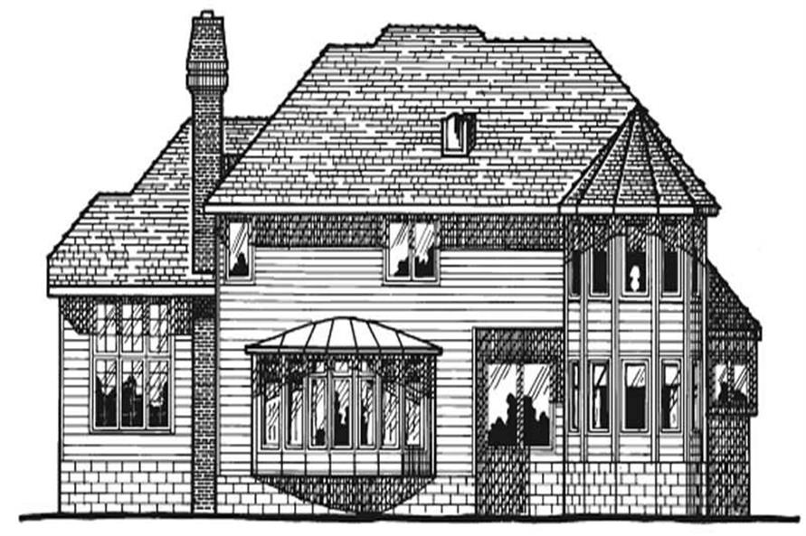 Home Plan Rear Elevation of this 4-Bedroom,3283 Sq Ft Plan -120-1730