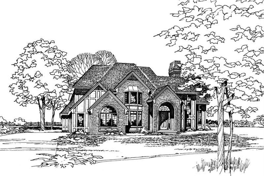 4-Bedroom, 3283 Sq Ft French House Plan - 120-1730 - Front Exterior