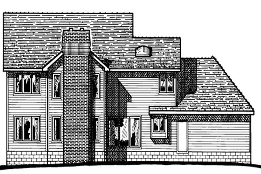 Home Plan Rear Elevation of this 4-Bedroom,2879 Sq Ft Plan -120-1738